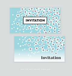 Spring blossom invitation card template simple vector