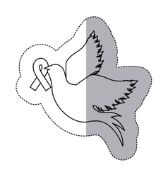 Sticker silhouette pigeon wiht ribbon of breast vector