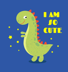 T shirt kids print label with cute dinosaur vector