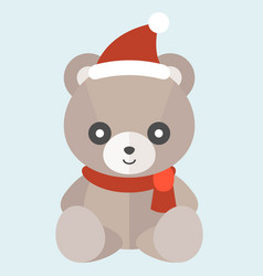 Teddy bear with christmas hat vector