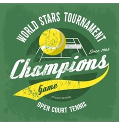 Tennis ball over court with net for t-shirt print vector