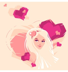 the girl and hearts vector image vector image