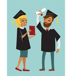 Two happy graduate students vector