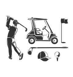 vintage golf elements for labels emblems vector image