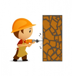 workmen with drill vector image
