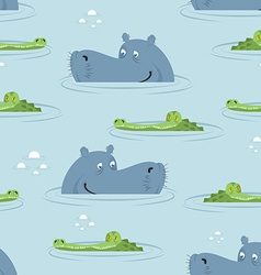 Hippo and crocodile in water seamless pattern good vector