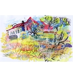 Felt-tip pen autumn rural landscape vector