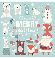 Collection of christmas animals santa claus vector