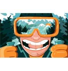 Funny portrait of mountain skier cartoon vector