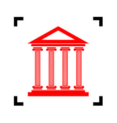 historical building red icon vector image