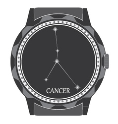 The watch dial with the zodiac sign cancer vector