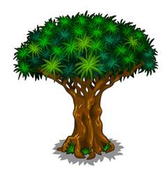 big magic tree with energy veins cartoon vector image
