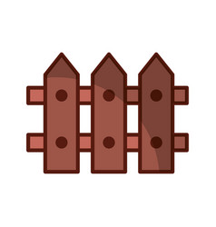 Fence wooden isolated icon vector