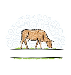 Sketch of ornamental cow for your design vector