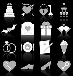 Wedding icons with reflect on black background vector image