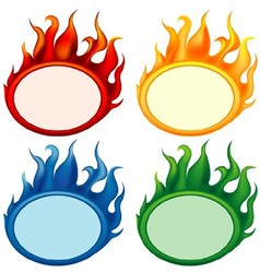 Fire Oval Banners vector image