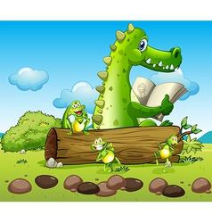 A crocodile and the three playful frogs vector