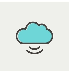 Cloud computing thin line icon vector