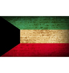 Flags kuwait with dirty paper texture vector