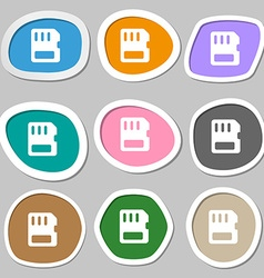Compact memory card icon symbols multicolored vector
