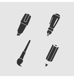 Set of writing stationery tools vector image