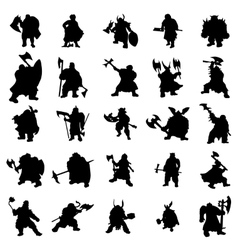 Dwarf silhouettes set vector