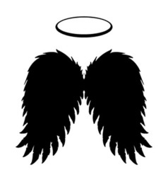 Black angel wings and halo vector