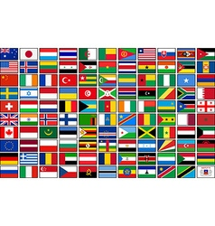 Set of 110 country flags vector image