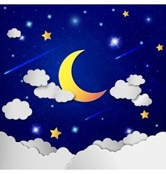 Moon and stars in the clouds vector