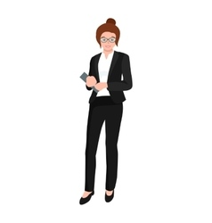 business woman in costume files and case office vector image