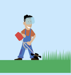 A worker cuts the grass in the garden vector