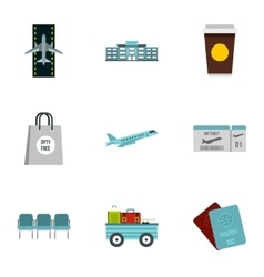 Airport check-in icons set flat style vector