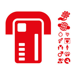 Atm machine icon with valentine bonus vector