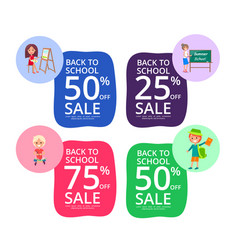 Back to school set of colorful sale posters vector