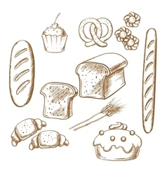 Bakery sketch icons with bread and pastry vector