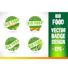Bio food badge logo vector
