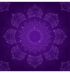 Chakra sahasrara on dark violet background vector