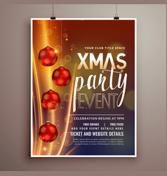 christmas holidays party flyer design template vector image