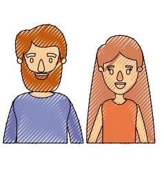 color crayon stripe caricature half body couple vector image vector image