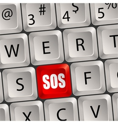 computer keyboard sos key vector image vector image