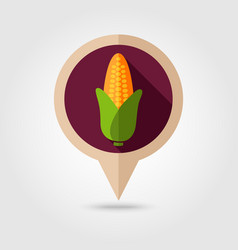 corn flat pin map icon vegetable vector image