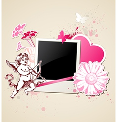 Decorative background with photo and cupid vector