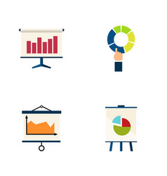 Flat icon chart set of diagram graph easel and vector