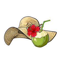 Floppy straw hat and coconut cocktail drink vector