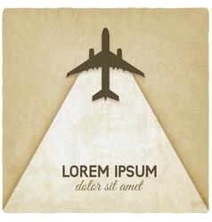flying plane on vintage background vector image