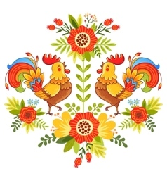 Folk ornament with flowers traditional pattern vector image