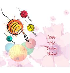 hand drawn oriental lanterns happy mid autumn vector image
