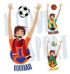 Happy sports fans vector