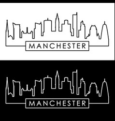 manchester skyline linear style editable file vector image