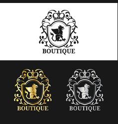 monogram logo template luxury crown design vector image